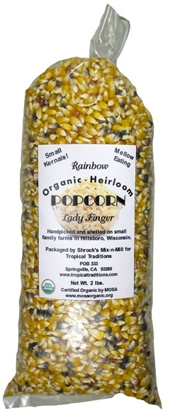 Lady Finger Open Pollinated Rainbow Organic Popcorn photo