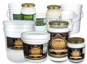 Photo of various coconut oils, virgin and refined