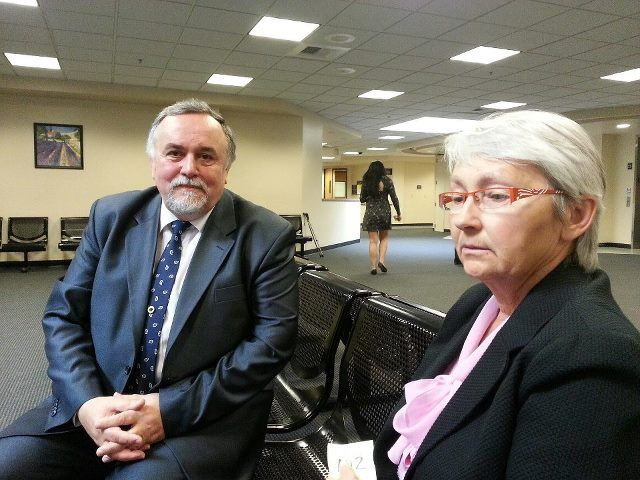 Senior Consul of Russia, Vycheslav Uvarov, in San Francisco in the court in Sacramento, with Honorary Consul of Russia, Natalia Owen.