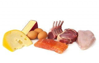 Foods rich in protein, including cheese, eggs, fish, lamb, beef