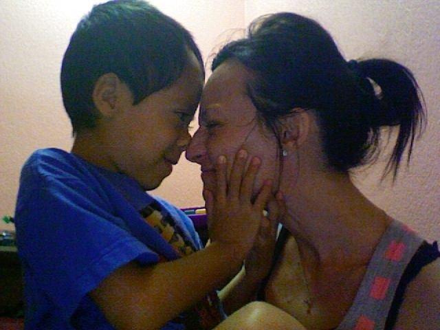 Tonya Brown loving mom and son