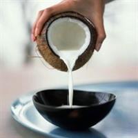 coconut milk pouring