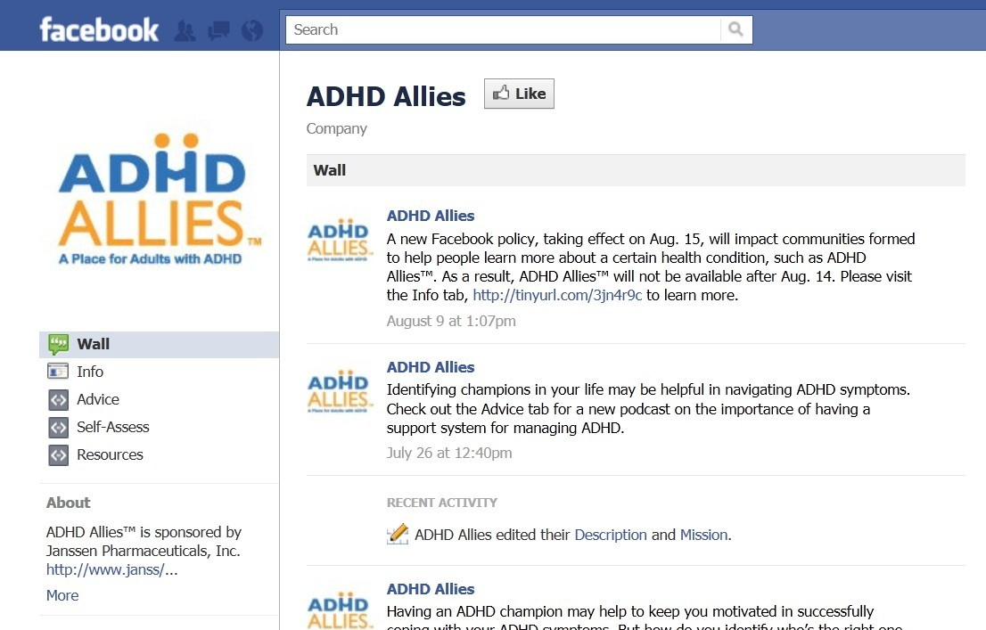 ADHS Allies Facebook page