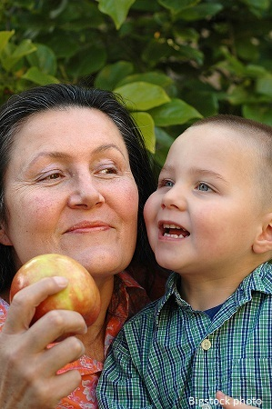 photo of grandma and grandson eating healthy