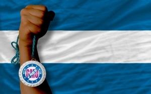 Silver Medal For Sport And  National Flag Of El Salvador