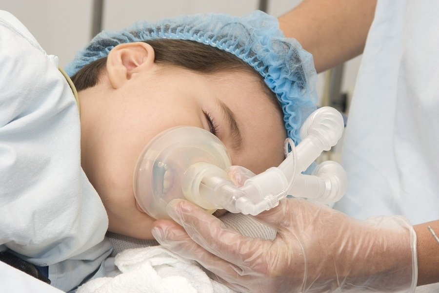Child patient receiving artificial ventilation