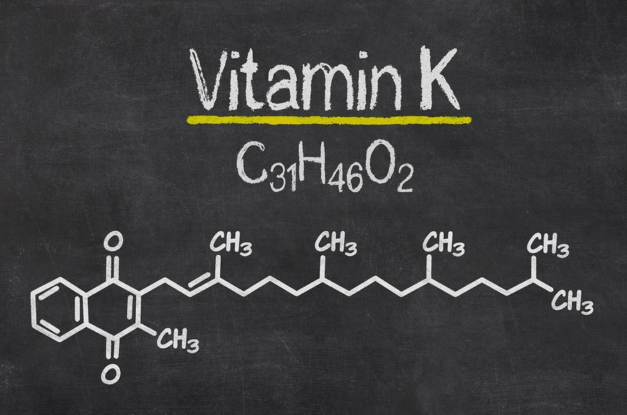 Blackboard with the chemical formula of Vitamin K