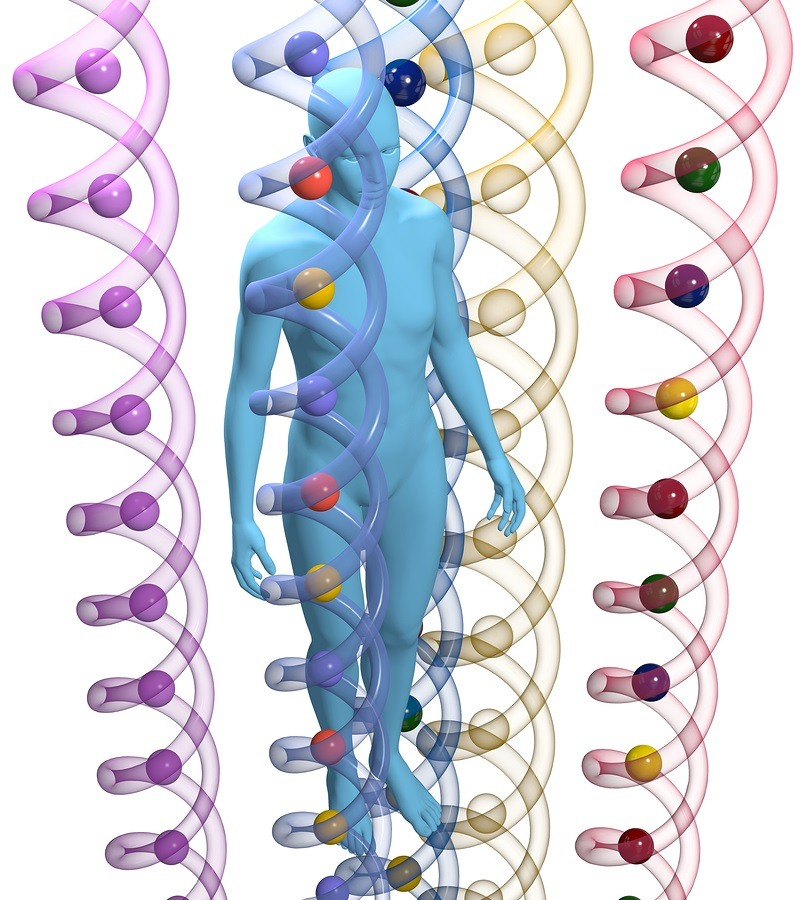 3D person among translucent human DNA helix shapes