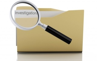 3d image. Magnifying glass examine investigations in folder. Search Documents Concept. Isolated white background