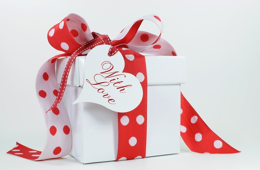 Red And White Polka Dot Theme Gift Box Present With Heart Shape