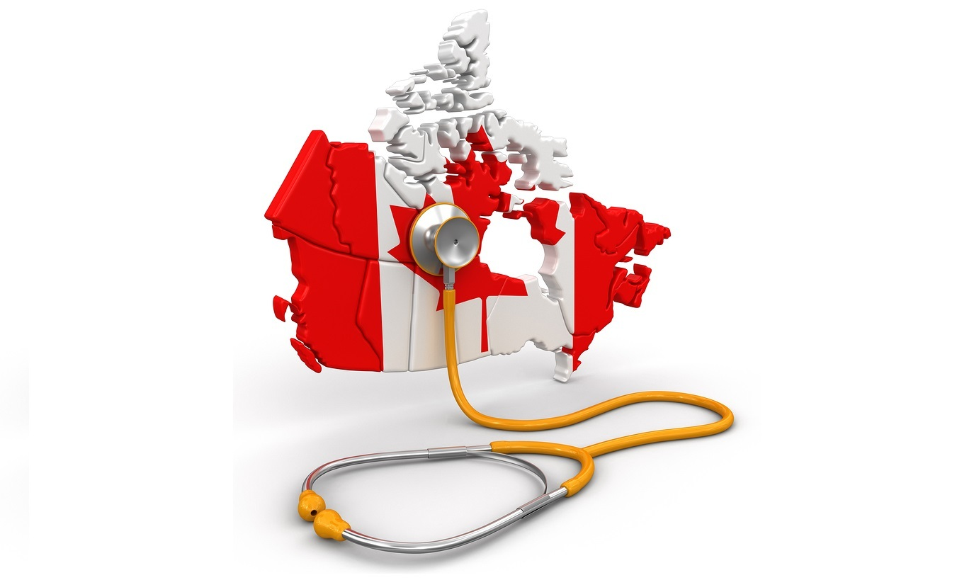 Map of Canada with Stethoscope. Image with clipping path.