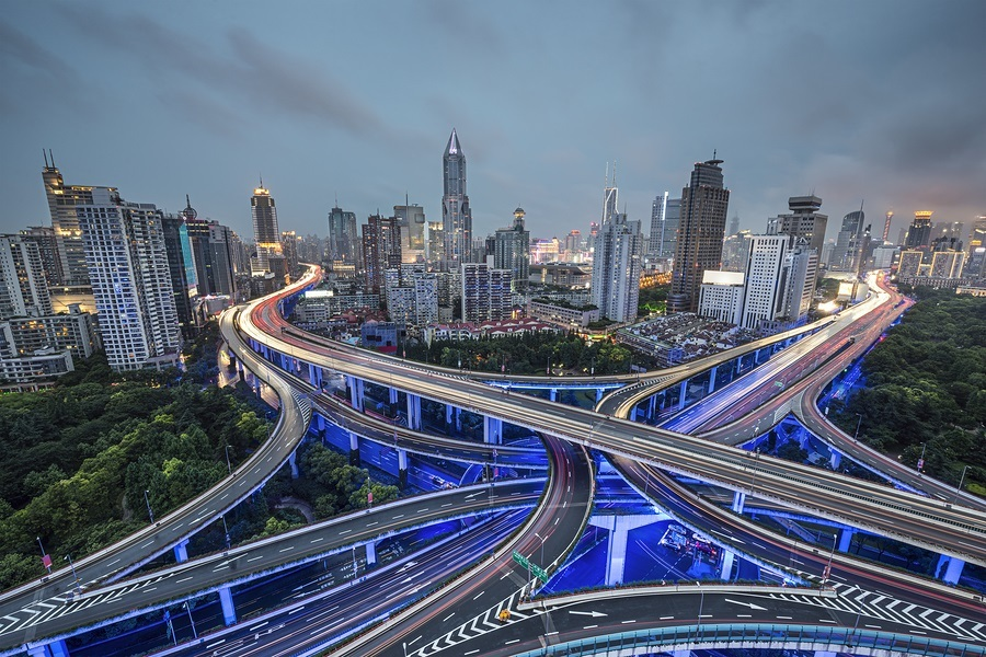 Shanghai, China aerial view over Yan'an Elevated Highway.