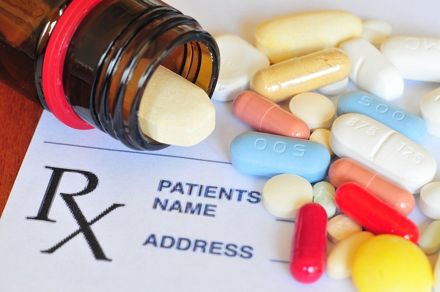 Close up photo of prescription pills with shallow depth of field