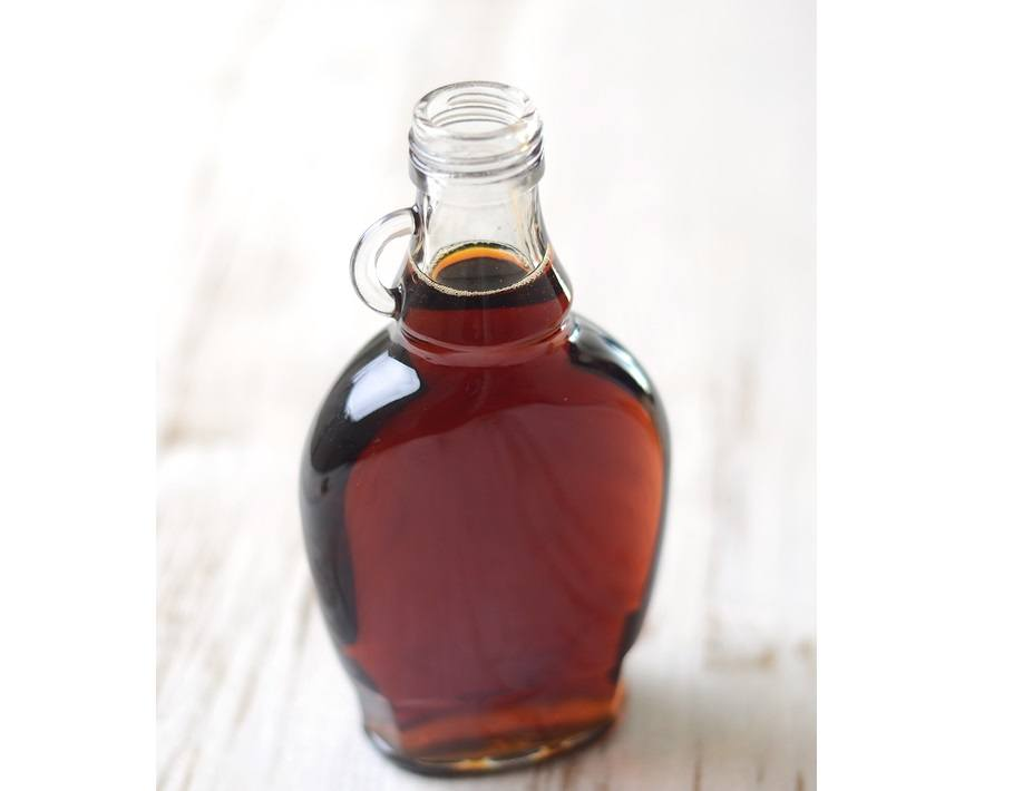 A full bottle of real maple syrup