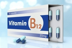 one box of pills with the label vitamin B12 (3d render)