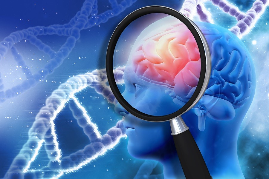 3D medical background with magnifying glass examining brain depi