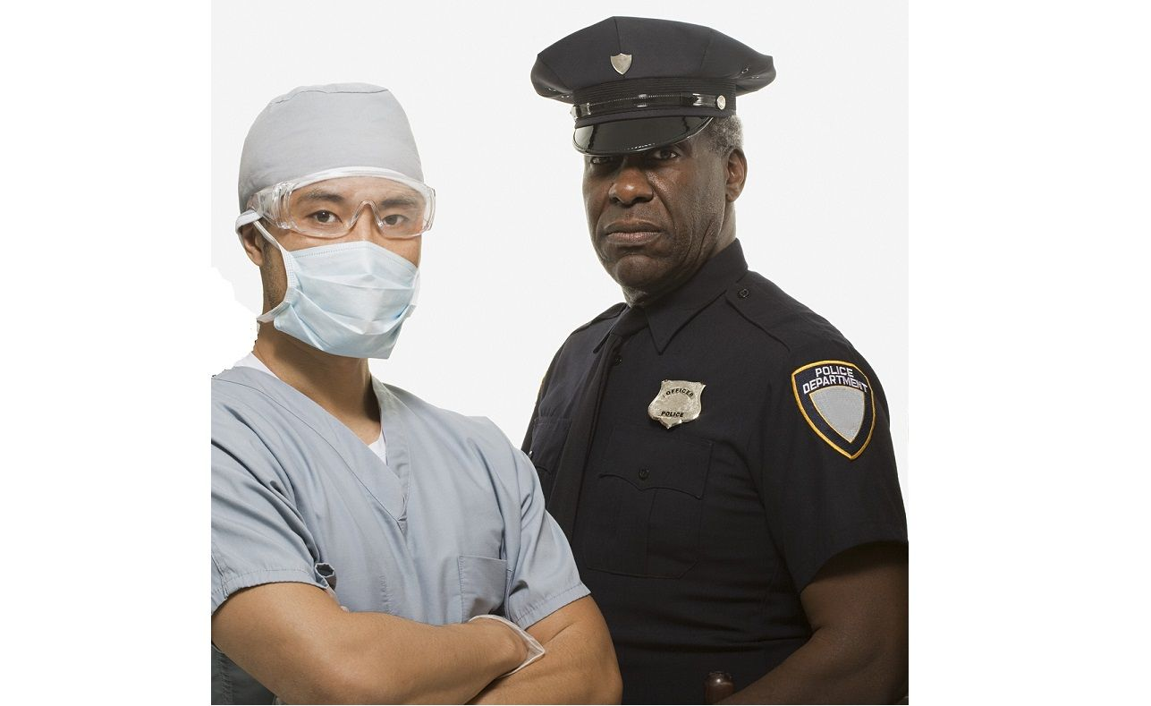 Firefighter surgeon police officer and construction worker