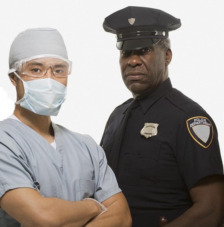 Surgeon and policeman photo
