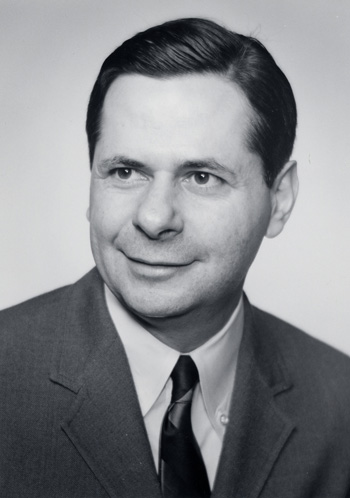 black and white formal portrait image of Dr. Stanley Jacob