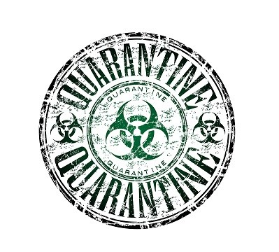 Green grunge rubber stamp with the hazard symbol and the word quarantine written inside the stamp