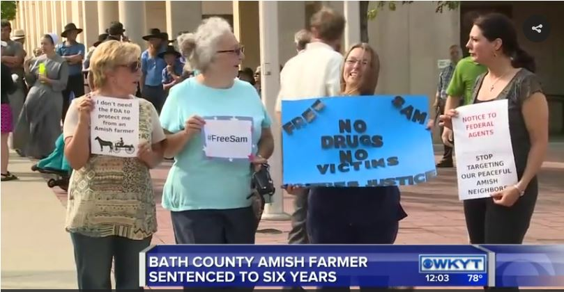 Protesters Outside the Courthouse in Bath County Kentucky for the sentencing of  Sam Girod.