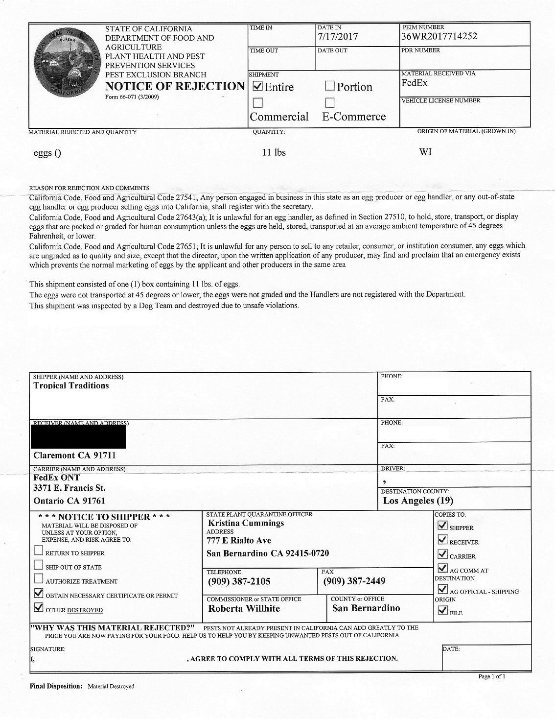CDFA letter July 2017