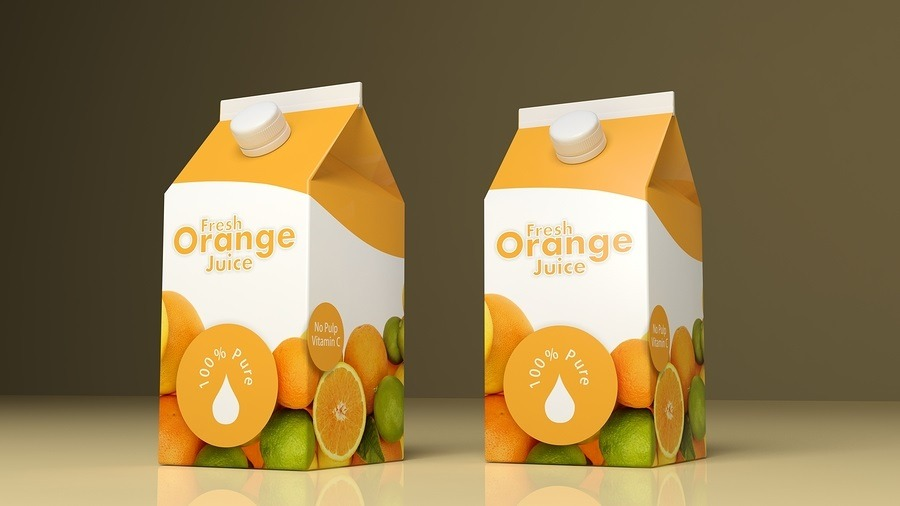 Orange juice paper packaging on colored background. 3d illustration