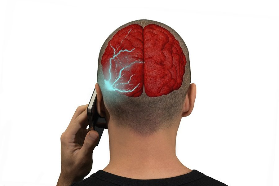 Phone emits waves in the brain of a person