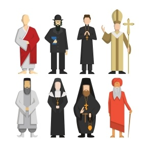 Religion representatives set. Pope and priest, rabbi and monk and others. Religious culture.