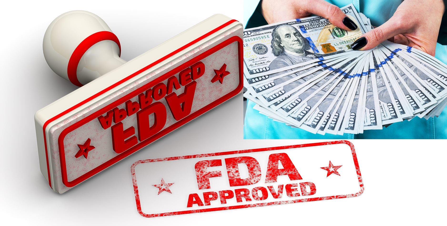 "FDA approved. Red seal and imprint ""FDA APPROVED"" on white surface. FDA - Food and Drug Administration is a federal agency of the United States Department of Health and Human Services. Isolated. 3D Illustration"