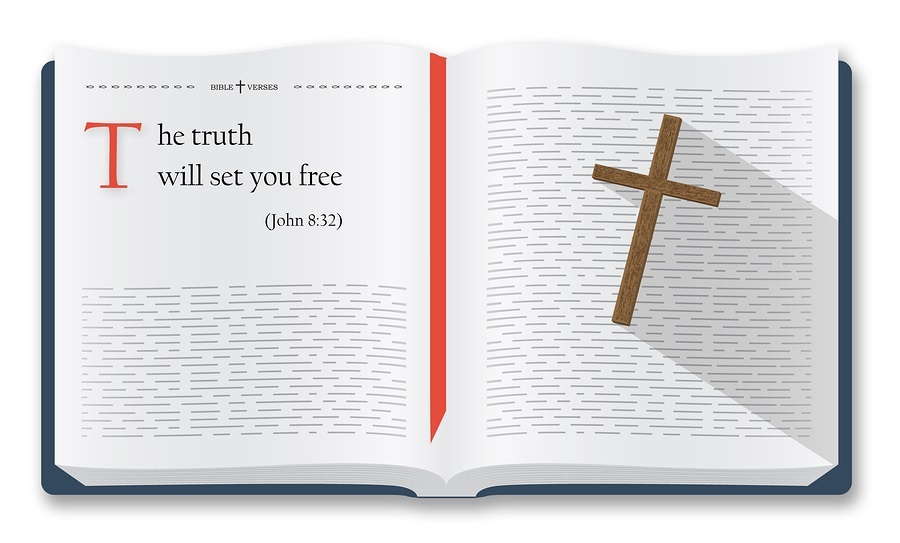 John 8:32. Bible quotes about the truth and freedom.