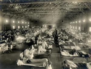 Emergency_hospital_during_Spanish_flu_epidemic_Camp_Funston_Kansas_-_NCP_1603-300x226