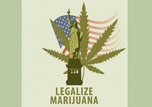 Vector banner for legalize marijuana with hemp leaf and statue of liberty on the background of american flag. Natural product made from organic hemp. Smoking weed