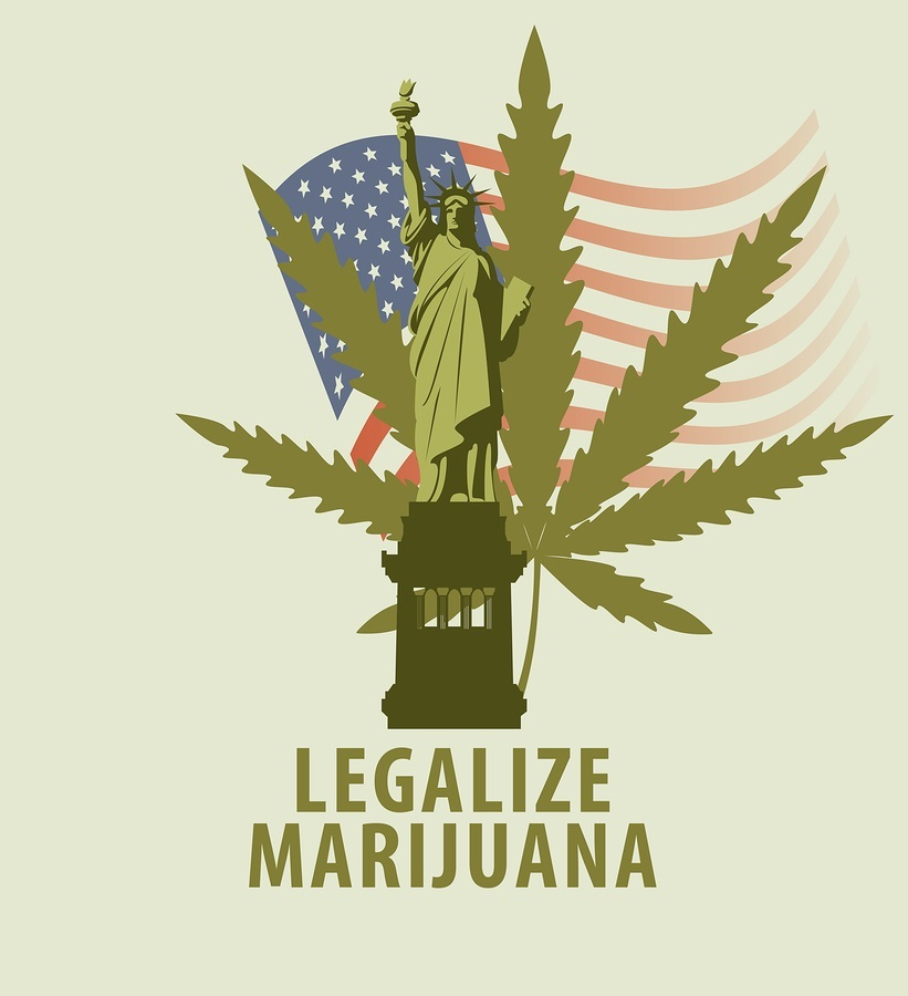 Vector banner for legalize marijuana with hemp leaf and statue of liberty on the background of american flag.
