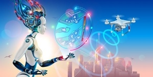 Robot woman controls drone with camera and monitoring situation on map of smart city. Artificial intelligence management of city infrastructure. Silhouette future town in sunrise.