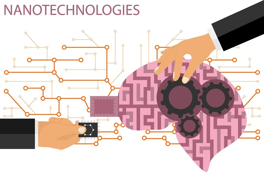 Nano technologies flat composition. Human brain with micro chip and metal gears. A hand inserts a microchip into the human brain. Vector illustration.