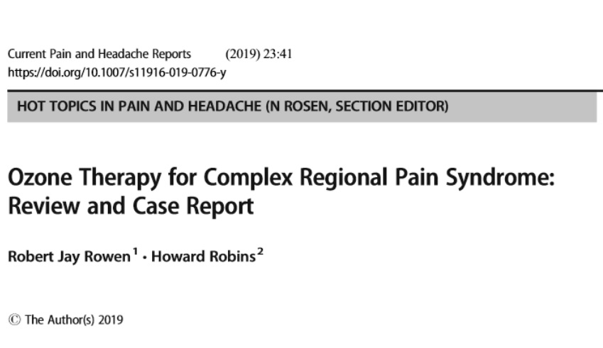 Ozone Therapy for Pain Publication Dr. Rowen