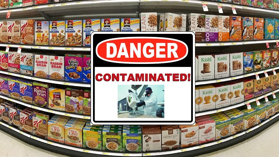 Grocery store shelf with boxes of various brands of breakfast cereal contaminated with glyphosate image