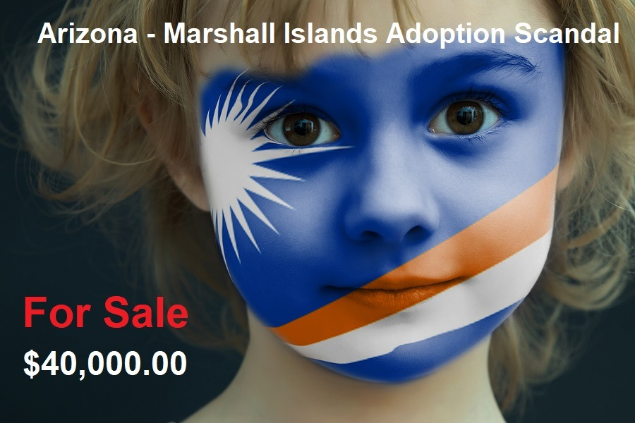 Portrait Of A Child With A Painted Flag Of Marshall Islands On H