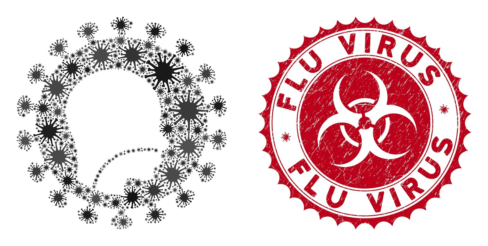 Coronavirus mosaic human flu virus icon and round grunge stamp seal with Flu Virus phrase. Mosaic vector is designed from human flu virus icon and with scattered infectious icons.