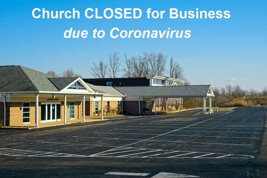 Macedonia, Oh, Usa - March 25, 2020: A Church Building Looks Out