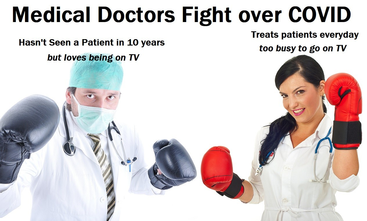 a Young beautiful  doctor with boxing gloves