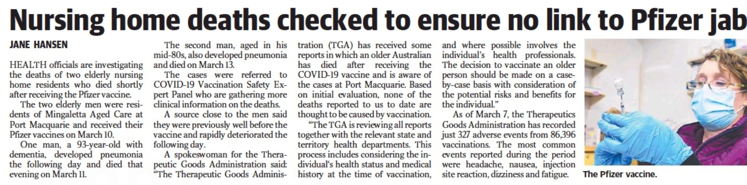 Australia Sunday Telegraph p.21 March 21 2021