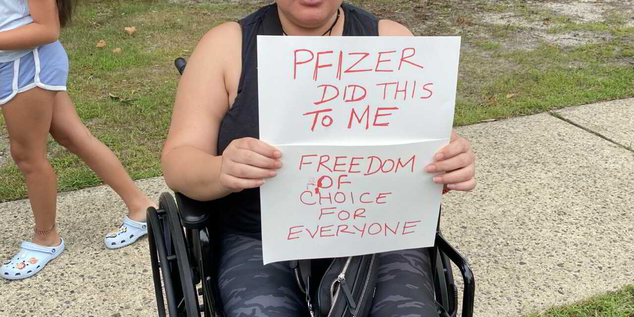 Pfizer did this to me - Woman in wheelchair