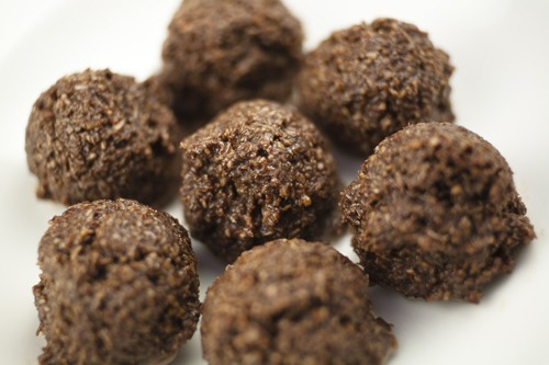 No Bake Coconut Cocoa Chewy Bites with coconut oil Recipe Photo