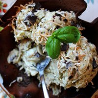 Toasted Coconut & Basil Ice Cream with Dark Chocolate Chunks Recipe photo